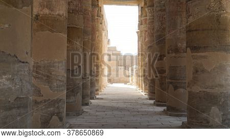 Luxor Egypt Columns In Karnak Temple With Remaining Clue Color Paint On Ceiling