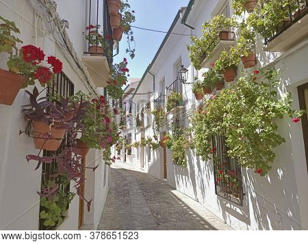 Streets Full Of Flowers In Old Town Of Priego De Córdoba Andalusia Spain