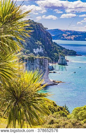 View Over Cliffy Shore Of Te Whanganui-a-hei Marine Reserve On Northern Island In New Zealand In Sum