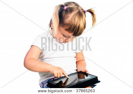 3 Years Old Girl Gaming With Tablet Isolated Over White