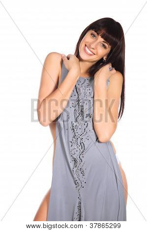 Happy Woman Fitting New Dress Isolated Over White