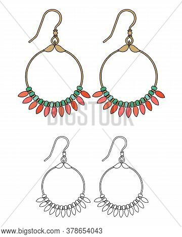 Handmade Jewelry In Ethnic Style: Round Earrings With Pink Coral. Isolated Vector Illustration.