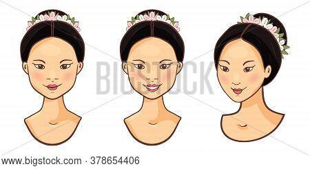 Young Smiling Beautiful Asian Women Face Icons