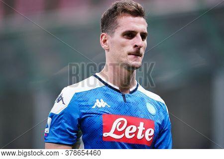 Milano (italy) 28th July 2020. Italian Serie A. Fc Internazionale Vs Ssc Napoli. Arkadiusz Milik Of