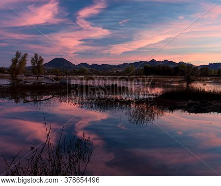 Sunset At The Gray Lodge Wildlife Area, Pennington, California, Usa,  Featuring Pink Colors And Refl