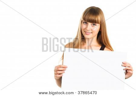 Cute Teen Girl Presenting Blank Poster, Half Length, Isolated On White Background