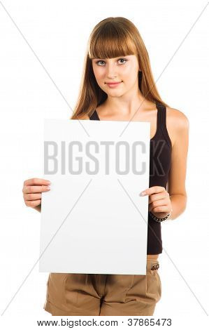 Friendly Teen Girl Presenting Blank Poster, Half Length, Isolated On White Background