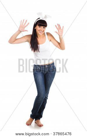 Playful Adult Girl Wearing Bunny Ears Isolated Over White