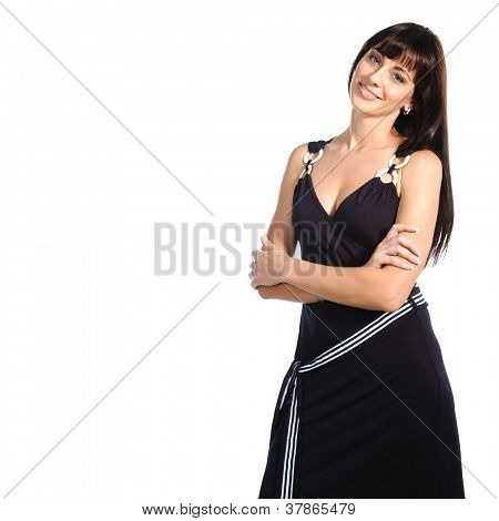 Pretty Casual Woman Standing Isolated Over White Background
