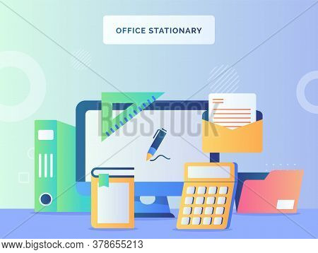 Office Stationary Concept Monitor Computer Background Of Calculator Book Mail File Folder Ruler With