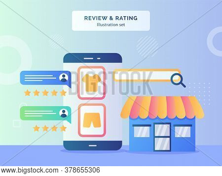 Review Rating Concept Feedback Comment Rate From Customer On Clothing Display Smartphone Screen Back