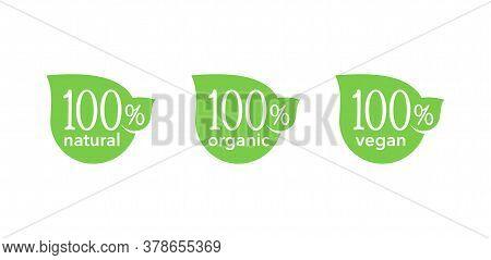 100 Natural, 100 Organic, 100 Vegan Icons - Tag For Hundred Percent Healthy Food, Vegetarian Nutriti