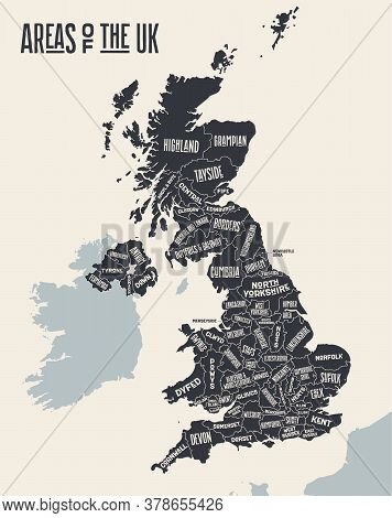 Map United Kingdom. Poster Map Of Areas Of The United Kingdom. Black And White Print Map Of United K