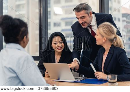 Corporate Business Team And Manager In A Meeting.young Team Of Coworkers Making Great Business Discu