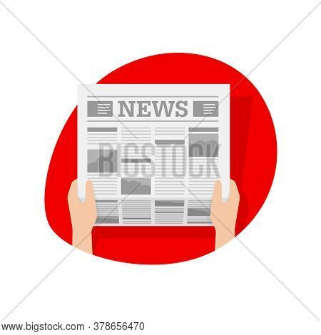 Hot News Icon - Hands Holding Newspaper In Red Oval Frame - Vector Isolated Illustration, Pictogram