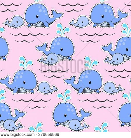 Patch With Mother Whale And Baby Whale Swim On The Waves, Cute Blue Whales On A Pink Background. Vec