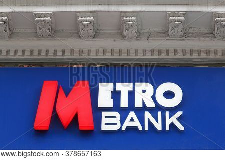 London, United Kingdom - September 25, 2019: Metro Bank Sign On A Wall. Metro Bank Is A Retail And C