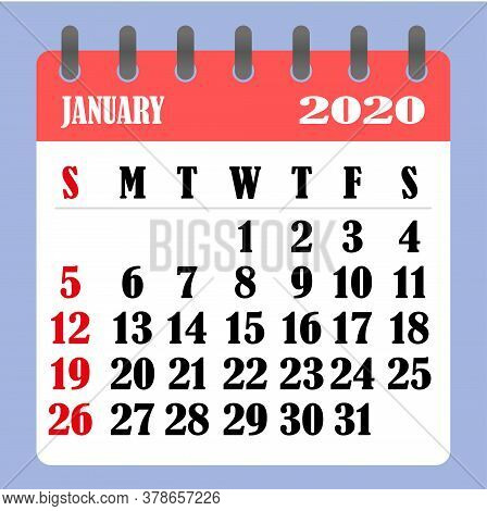 Letter Calendar For January 2020. The Week Begins On Sunday. Time, Planning And Schedule Concept. Fl