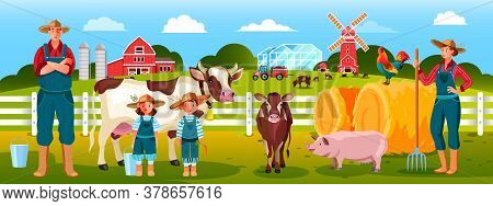 Family Farm Illustration With Mother, Father, Kids, Hay, Cow, Pig, Calf, Cow. Country Rural Landscap