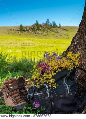 Halt In The Mountains - Backpack, Boots And Flowers