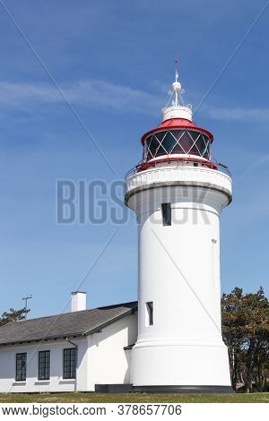 Sletterhage Lighthouse In Helgenaes, Mols Region, Denmark