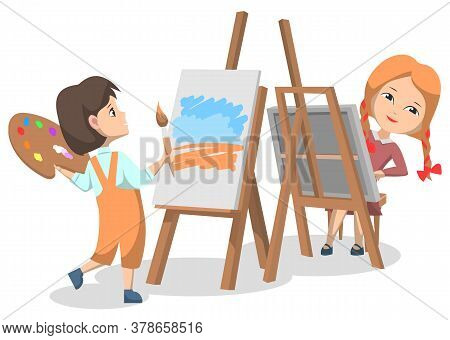 School Art Club For Pupils. Two Girls Drawing Paints On Canvas With Paint Palette And Brush. Spend T