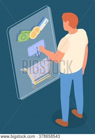 Online Shop, Isometric 3d Illustration. Man Customer Shopper Choosing Product In Online Shop, Put It
