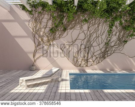 Rooftop swimming pool with wall climbing plant and lounger, 3D illustration, rendering.
