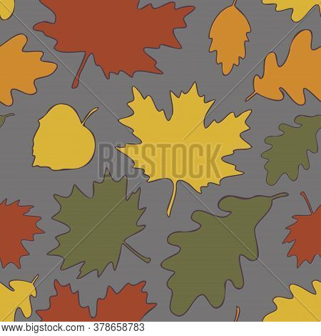 Vector Seamless Pattern Of Autumn Leaves. Maple, Linden, Oak And Birch Leaves Background.