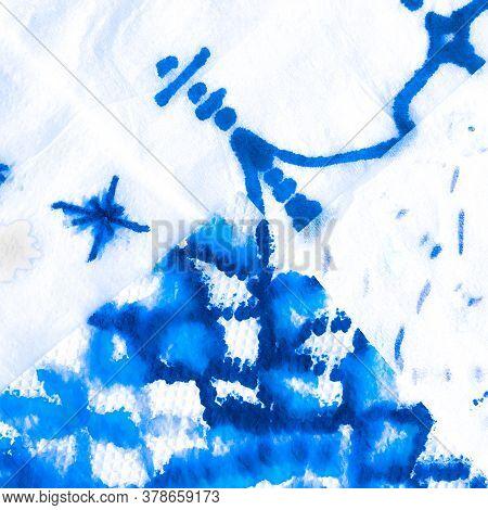 Winter Oriental Textile. Marine Blue Pattern. Damask Maritime Navy Pattern. Denim Cold Ornamental Pa
