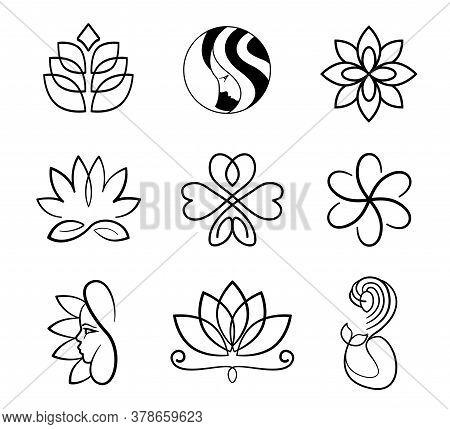 Vector, Lily, Lotus, Mermaid, Woman Face And Flowers Black Outline Logo Set For Spa Ad Beauty Saloon
