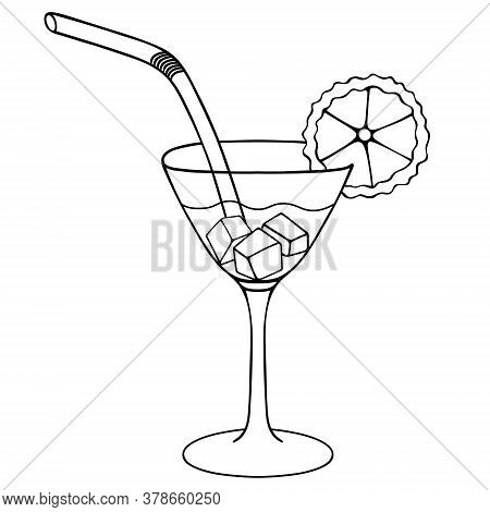 Martini With Ice Cubes And A Slice Of Lime. Sketch. A Glass With An Alcoholic Drink. Vector Illustra