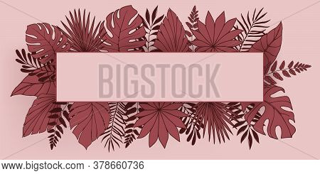 Tropic Floral Pattern With Square Frame. Large Tropical Leaves Philodendron, Palm, Monstera, Fern, A
