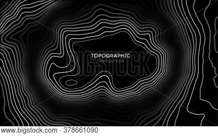 Vector Topographic Map With Blur Effect Contour Background. Topo Map With Elevation. Contour Map Vec