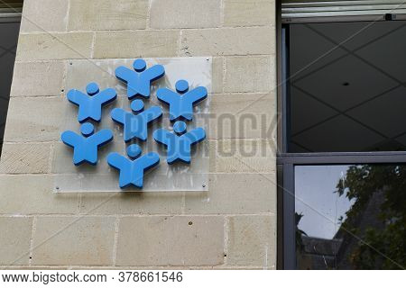 Bordeaux , Aquitaine / France - 07 25 2020 : Allocations Familiales Caisse Caf Logo Blue Sign On Wal