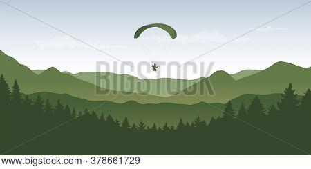 Paragliding Adventure In Wildlife Nature Mountain Landscape Vector Illustration Eps10