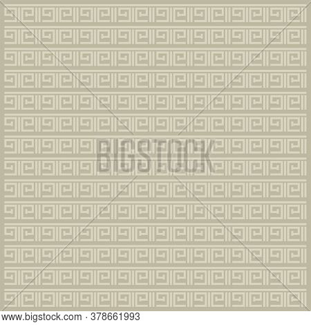 Greek Repeating Geometric Stripes Tiling. Vector Seamless Monochrome Subtle Pattern