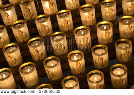 Notre Damme Cathedral Candles Light Up For Prayers In The Cathedral In Paris  Notre Damme Cathedral