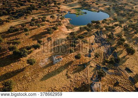 Landscape With Lagoon In Dehesa De La Luz. Extremadura. Spain.