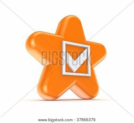 Orange star with a white tick mark.