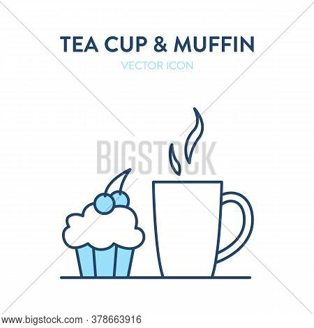 Coffee Cup And Muffin Icon. Vector Illustration Of A Cup With Hot Drink And A Cupcake. Tea Or Coffee