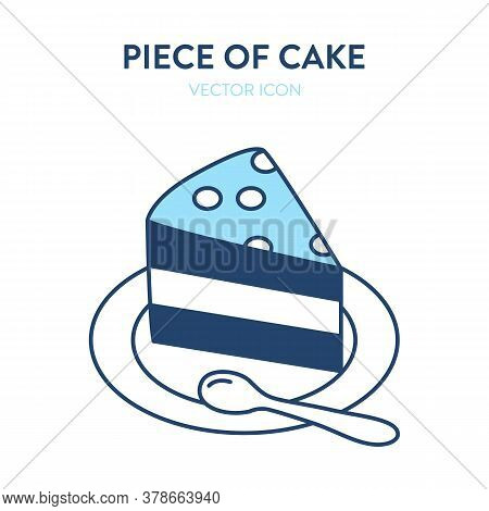 Slice Of Cake Icon. Vector Illustration Of A Piece Of Cake On A Small Plate With A Spoon. Dessert At