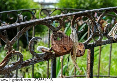 Several Old Rusty Locks Hang From The Metal Railings Of The Bridge As A Sign Of The Wedding Traditio