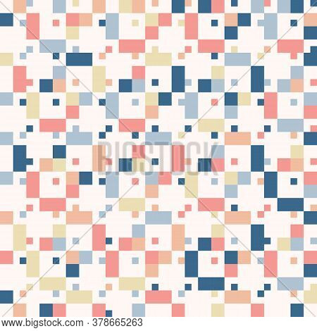 Vector Geometric Seamless Pattern With Small Colorful Squares. Pixel Art. Cute Funky Texture. Simple