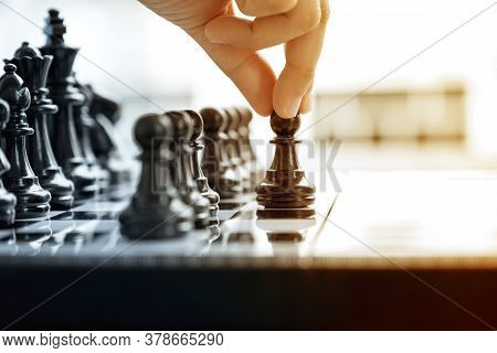 Hand Move Chess With Strategy And Tactic On Board Game, Business Opportunity  Competition Strategic