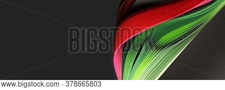 Green and red color strip wave paper. Abstract texture black long horizontal background.