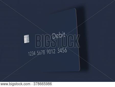 Here Is A Simple Modern Blue Debit Card Casting A Shadow.