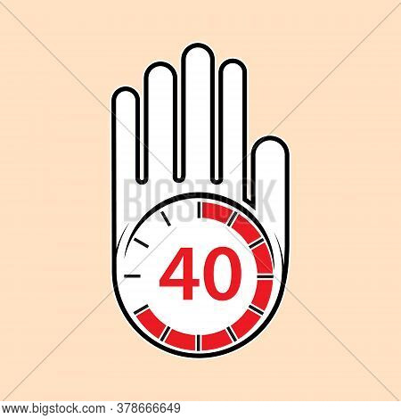 Raised, Open Hand With A Watch On It. Time For Rest Or Break, Pause. 40 Minutes Or Seconds. Flat Des