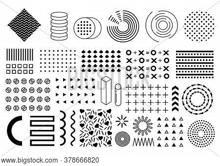 Vector Memphis Set, Collection Of Flat Design Elements, Circles, Pluses, Arrows, Triangles, Patterns