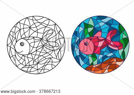 Black And White And Colored Illustration In Stained Glass Style With Abstract Fish. Image For Colori
